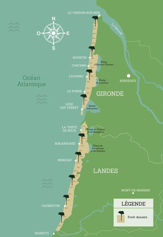 Représentation de la carte du littoral aquitain