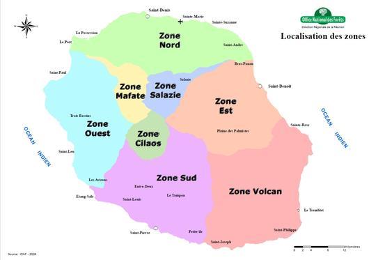 La carte des différentes zones de l'île