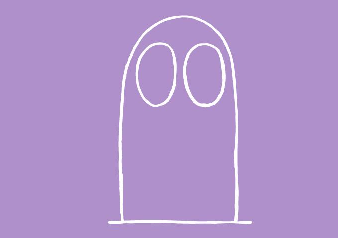 Sur la branche où il se perche, dessiner la haute forme du Hibou, avec les 2 yeux de fantôme