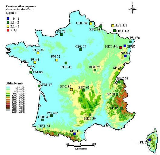 Concentration moyenne d'ammoniac dans l'air durant la période de végétation, de 2002 à 2006