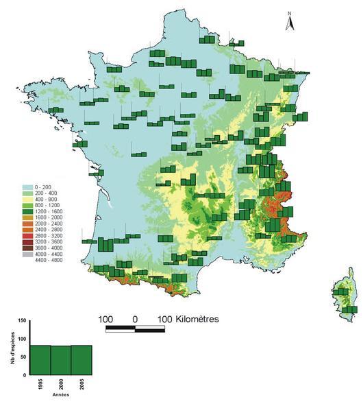 Nombre total d'espèces végétales observées dans les peuplements du réseau RENECOFOR en 1995, 2000 et 2005