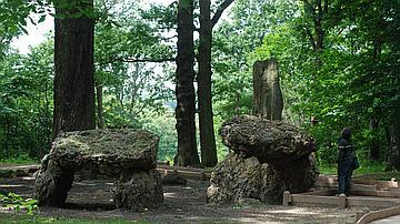 De faux mégalithes disposés autour du chêne des Missions