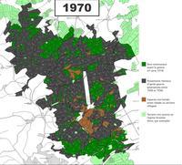 Carte de la surface boisée en 1970