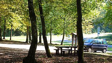 Un lieu de pique-nique ombragé en forêt
