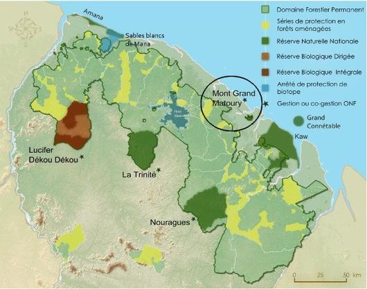 carte des espaces naturels protégés de Guyane