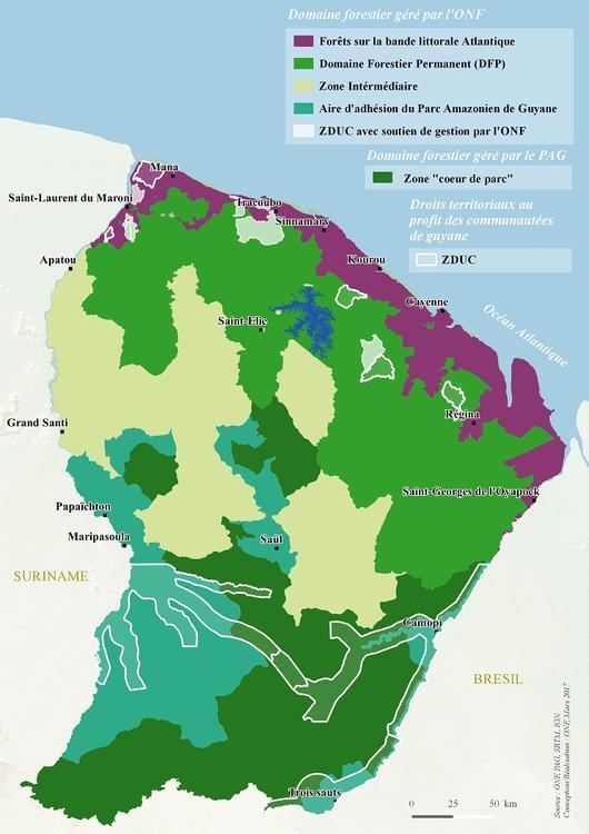 Carte de présentation du domaine géré par l'ONF
