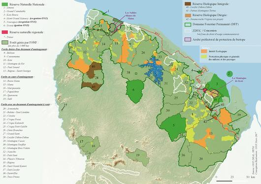 Carte de présentation du DFP et principaux espaces protégés du nord de la Guyane
