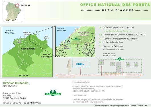 Plan d'accès à la Direction territoriale de l'ONF Guyane à Cayenne