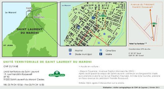 Plan d'accès à l'Unité Territoriale de Saint Laurent du Maroni