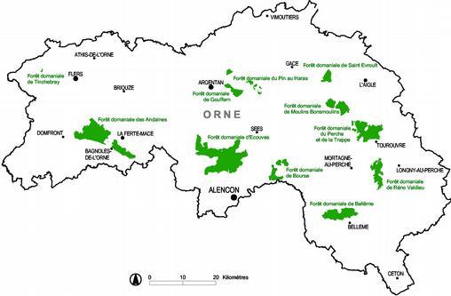 Carte de situation des forêts concernées