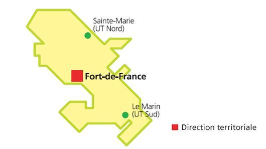 carte localisation direction territoriale Martinique