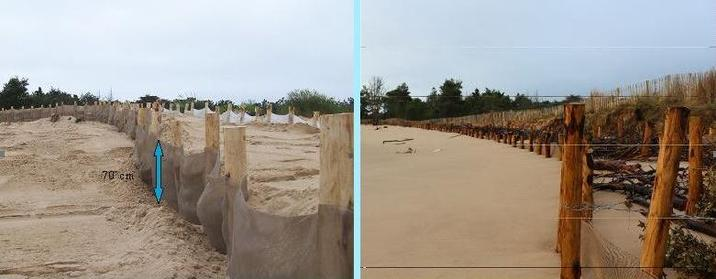 A gauche, en septembre lors de la pose du filet. A droite, un mois plus tard, la plage a gagné 70 cm de hauteur de sable
