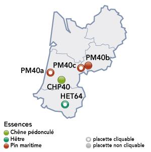 Renecofor - placettes - Aquitaine