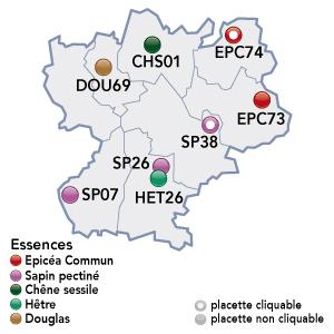 Renecofor - placettes - Rhône Alpes