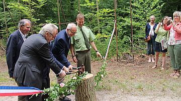 De gauche à droite : Jacques Martin-Pariset (Fondation du Patrimoine), Michel Foubert (Agglomération de Compiègne), Philippe Marini (maire de Compiègne), Éric De Valroger (Département de l'Oise) et Bertrand Wimmers (ONF), coupant le ruban inaugural à l'aide de marteaux forestier.