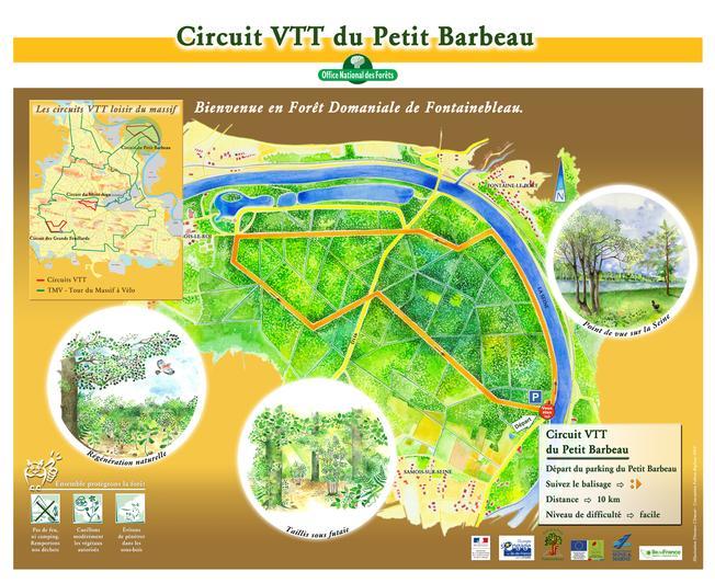 Le départ se situe sur le parking du Petit Barbeau à quelques mètres de la Seine seulement