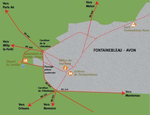 Le plan d'accès au départ du sentier