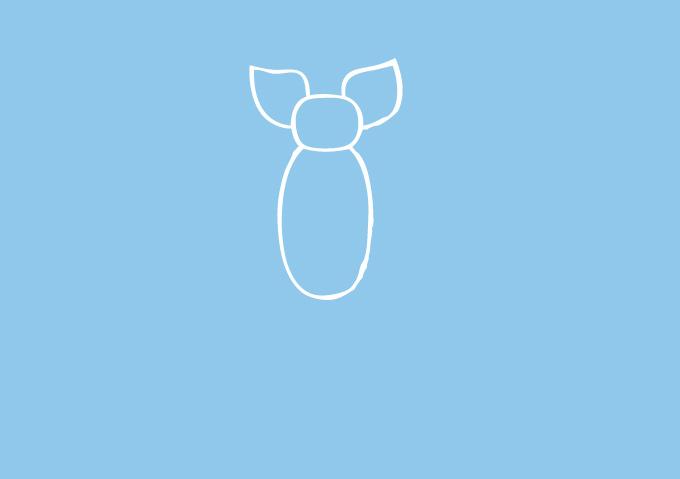 Dessiner le rond de la tête avec les grandes oreilles, ajouter dessous le rond du corps