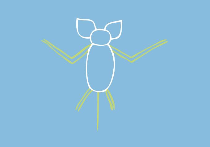 Ajouter les 2 grands bras, les 2 petites pattes et la queue de souris