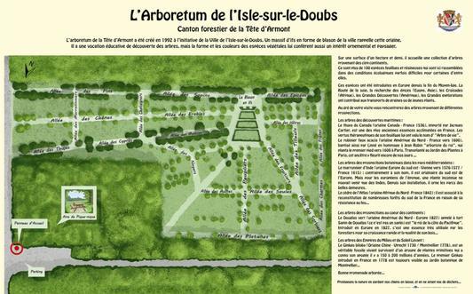 Un panneau présente l'arboretum de l'Isle-sur-le-Doubs, situé à proximité de l'aire de pique-nique