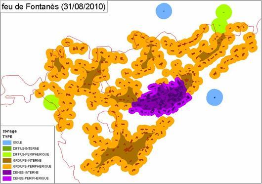 Croisement de la cartographie des habitats avec un contour de feu pour en analyser les effets sur les différents types d'habitat