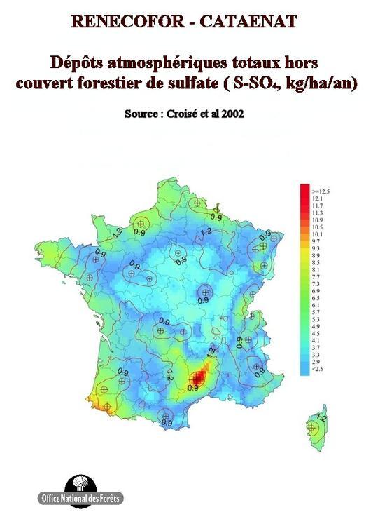 Les dépôts atmosphériques totaux hors forêt de soufre de 1993 à 1998