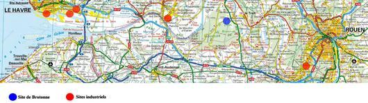 Localisation des grands sites industriels autour de la forêt domaniale de Brotonne (source : Michelin)