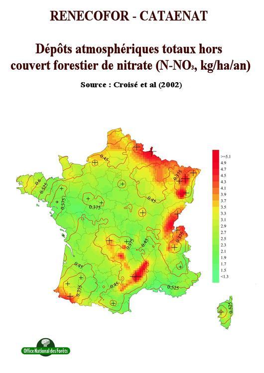 Les dépôts atmosphériques totaux hors forêt de nitrate de 1993 à 1998