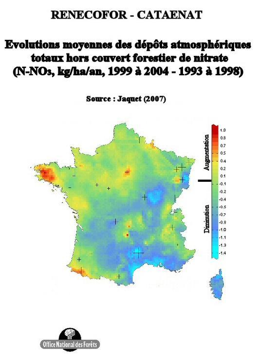 L'évolution moyenne des dépôts annuels de nitrate entre les périodes 1993 à 1998 et 1999 à 2004