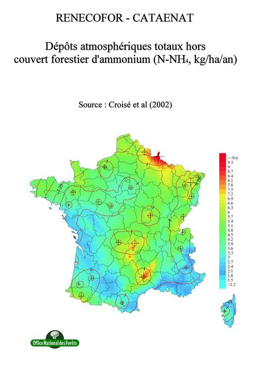 Les dépôts atmosphériques totaux hors forêt d'ammonium de 1993 à 1998