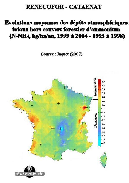 L'évolution moyenne des dépôts annuels d'ammonium entre les périodes 1993 à 1998 et 1999 à 2004